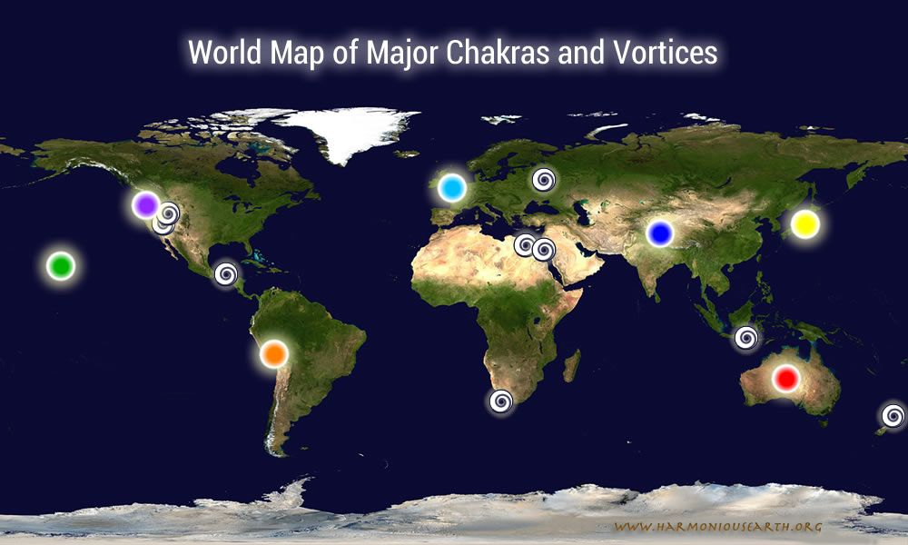 Earth Chakra Map and Earth Vortices Map