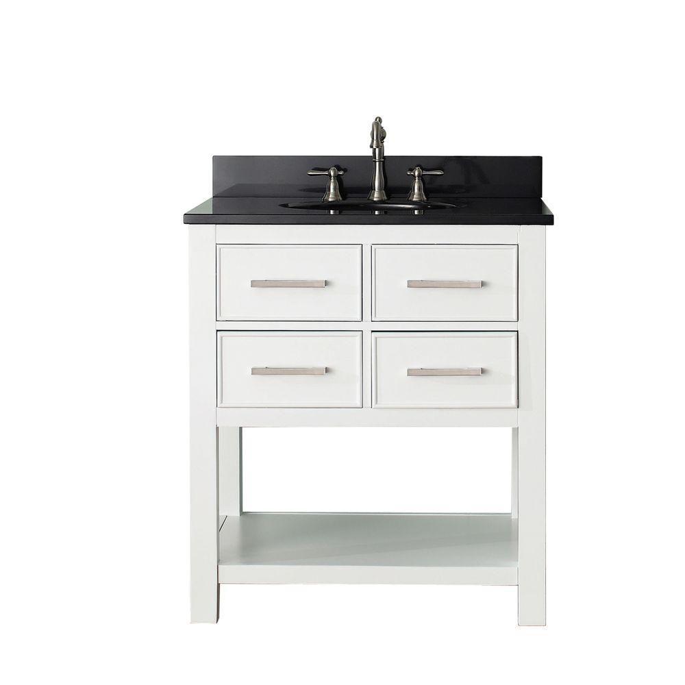 Brooks 30inch w vanity in white with granite top in black