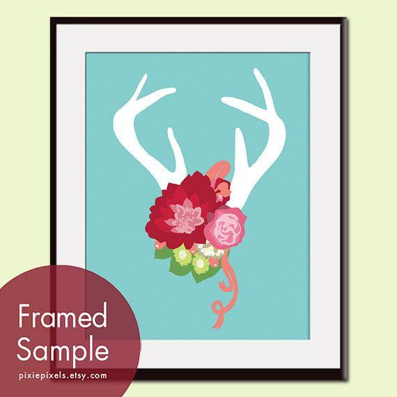 Deer Head Silhouette with Flowers series B 8x10 Art by pixiepixels, $12.95