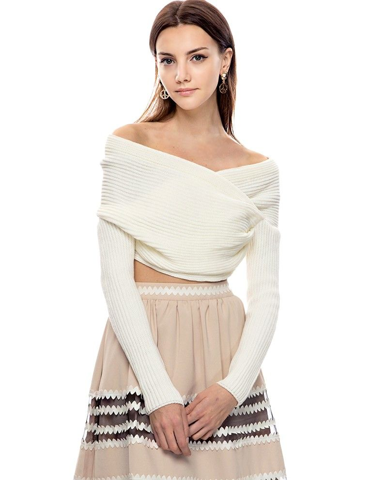 Ivory Off The Shoulder Crop Sweaters - Party Knit Top - $62 ...