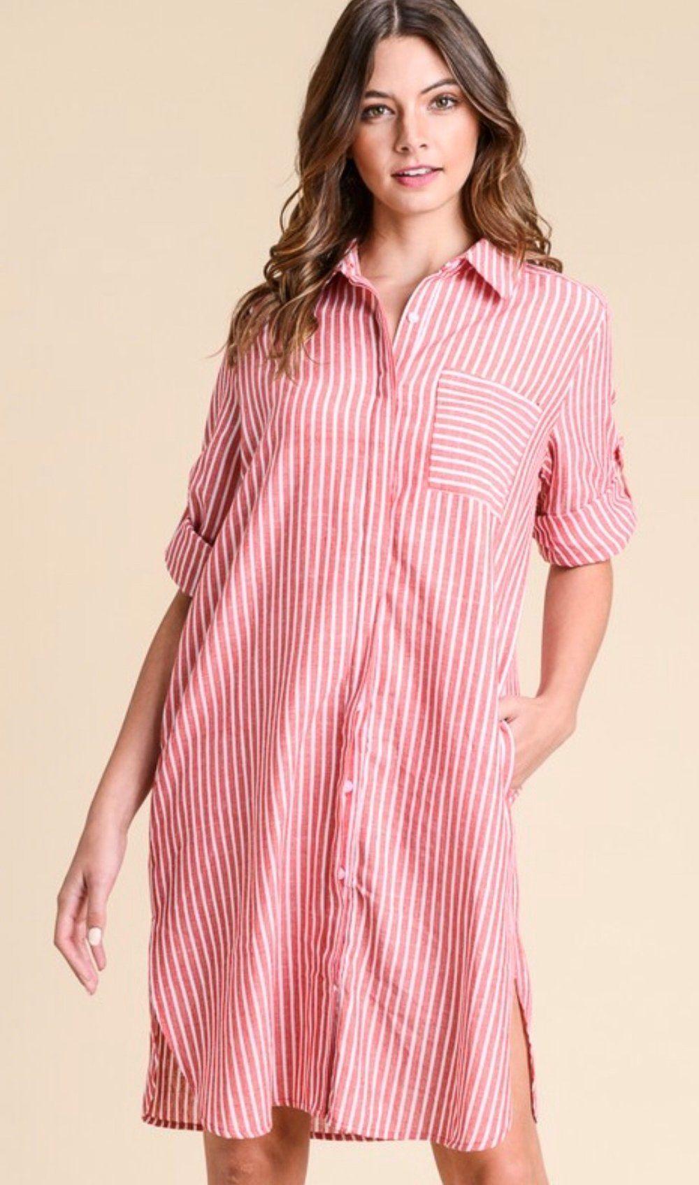8282ade4e81597 Pamela Stripped Dress Stripped Button Up Mini Dress with slight slits on  the sides