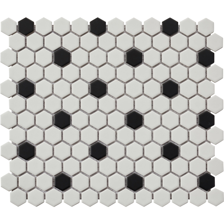 Mosaique Sol Et Mur Hexagon Noir Blanc 2 7 X 2 3 Cm Leroy