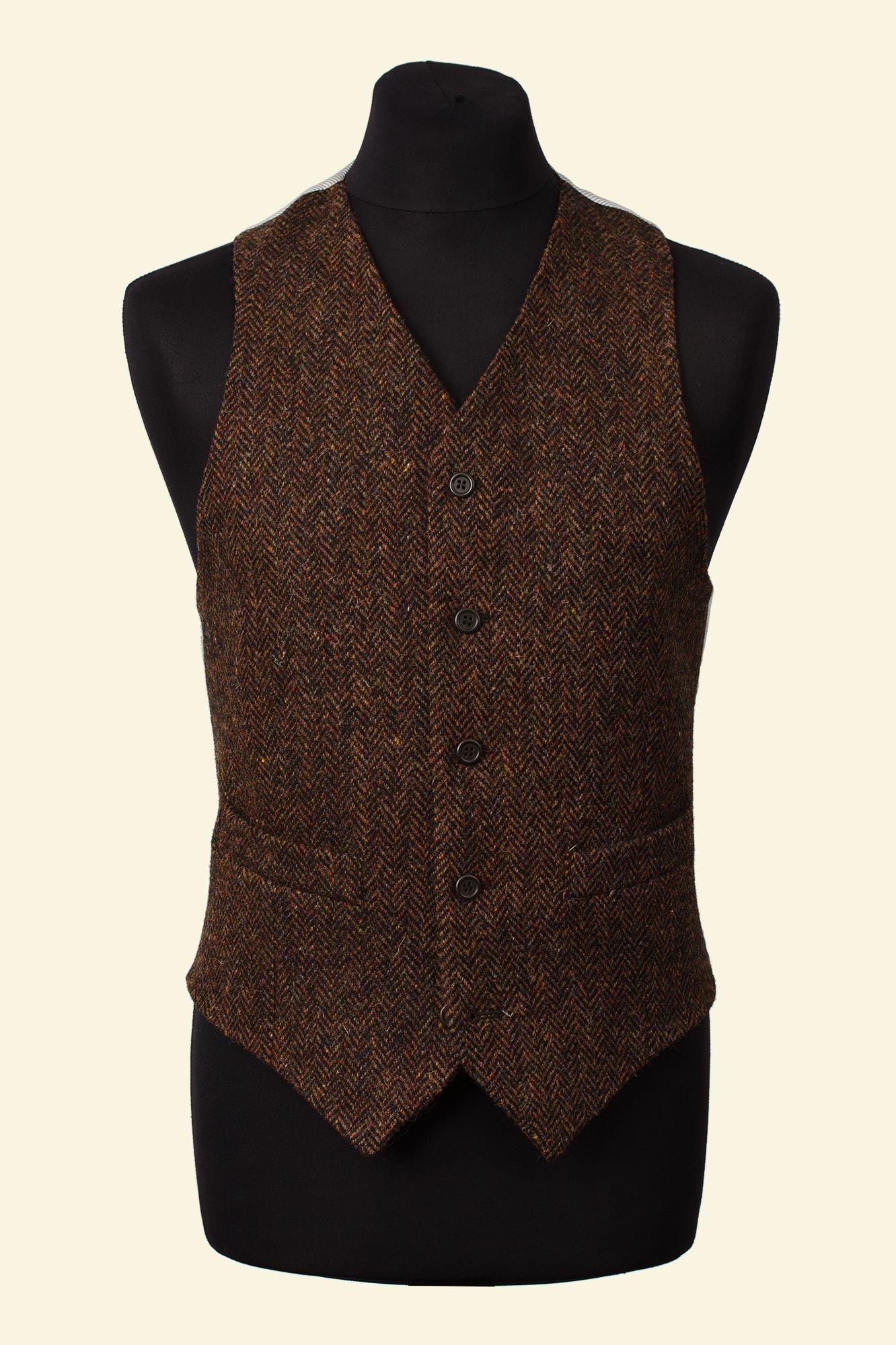 Brown Herringbone Harris Tweed Ramsey Waistcoat Walker Slater Tweed Specialists