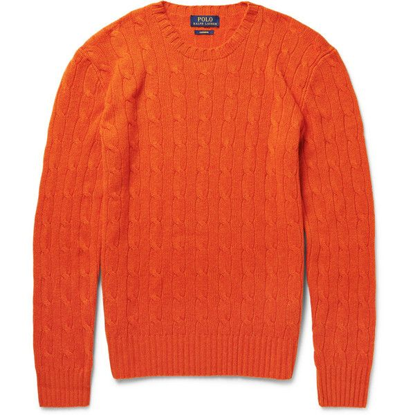 Polo Ralph Lauren Cable-Knit Cashmere Sweater ($400) ? liked on Polyvore  featuring men\u0027s fashion, men\u0027s clothing, men\u0027s sweaters, orange, mens cable  knit ...