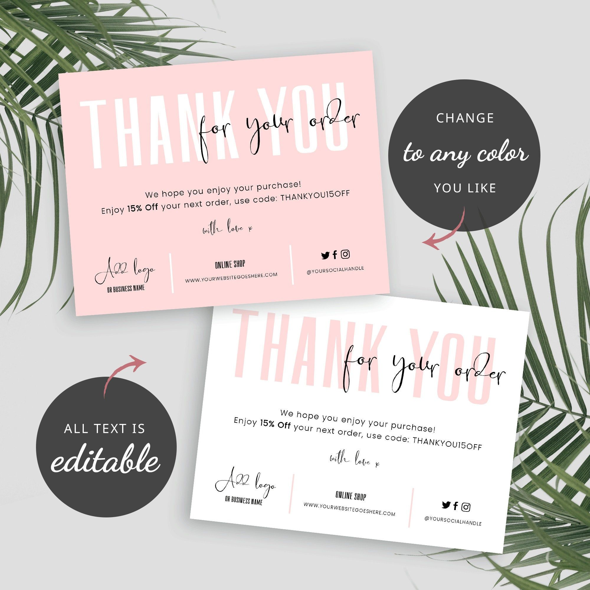 Small Business Thank You Card Template Thank You For Your Etsy Business Thank You Cards Thank You Card Template Thank You Card Design