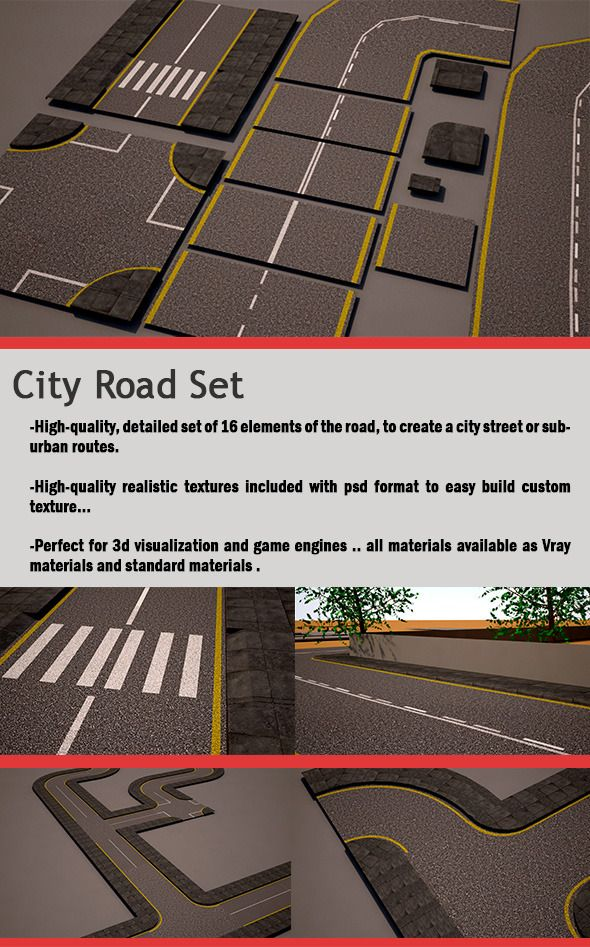 Free 3D City Road Set (Street Pack) for download  - Expires on 1st