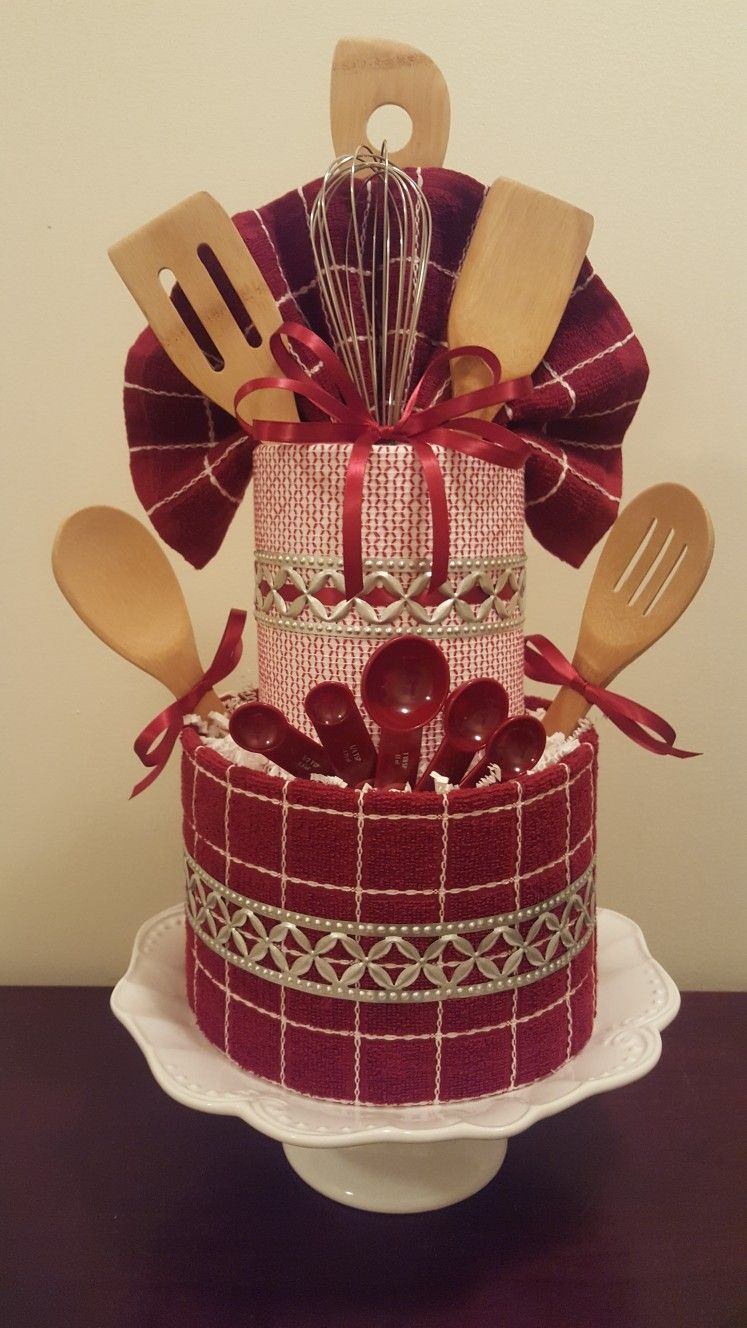 Kitchen themed towel cake, bridal shower or house warming