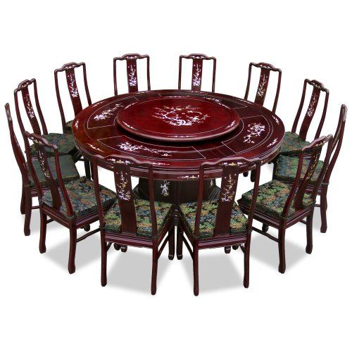 Charmant Hand Crafted 72in Pearl Inlay Design Rosewood Round Dining Table With 12  Chairs   Dark Cherry | Open Houses | Pinterest | Round Dining Table, Open  House And ...