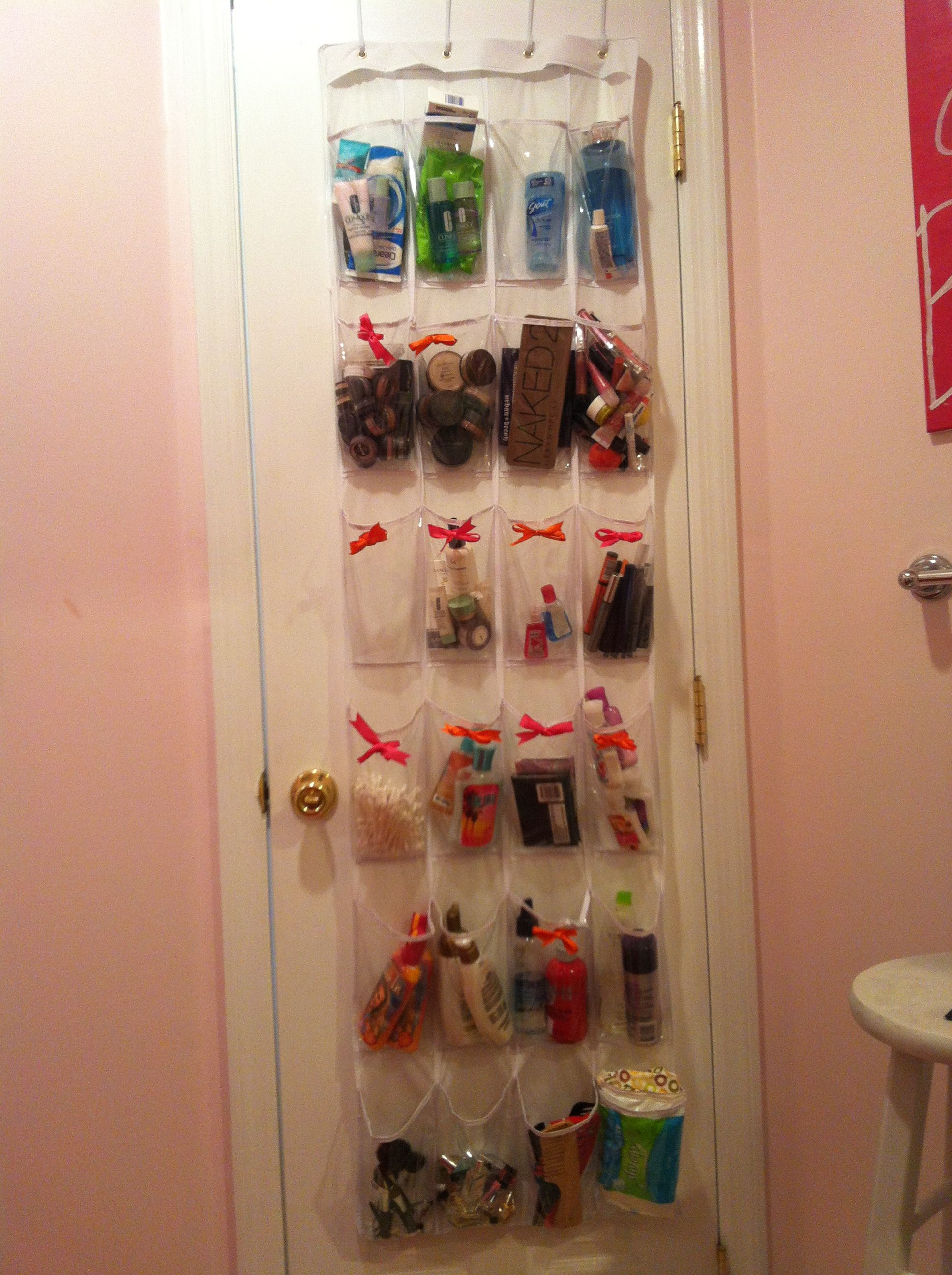 Small bathroom storage idea! Shoe holder thing from Walmart and ...
