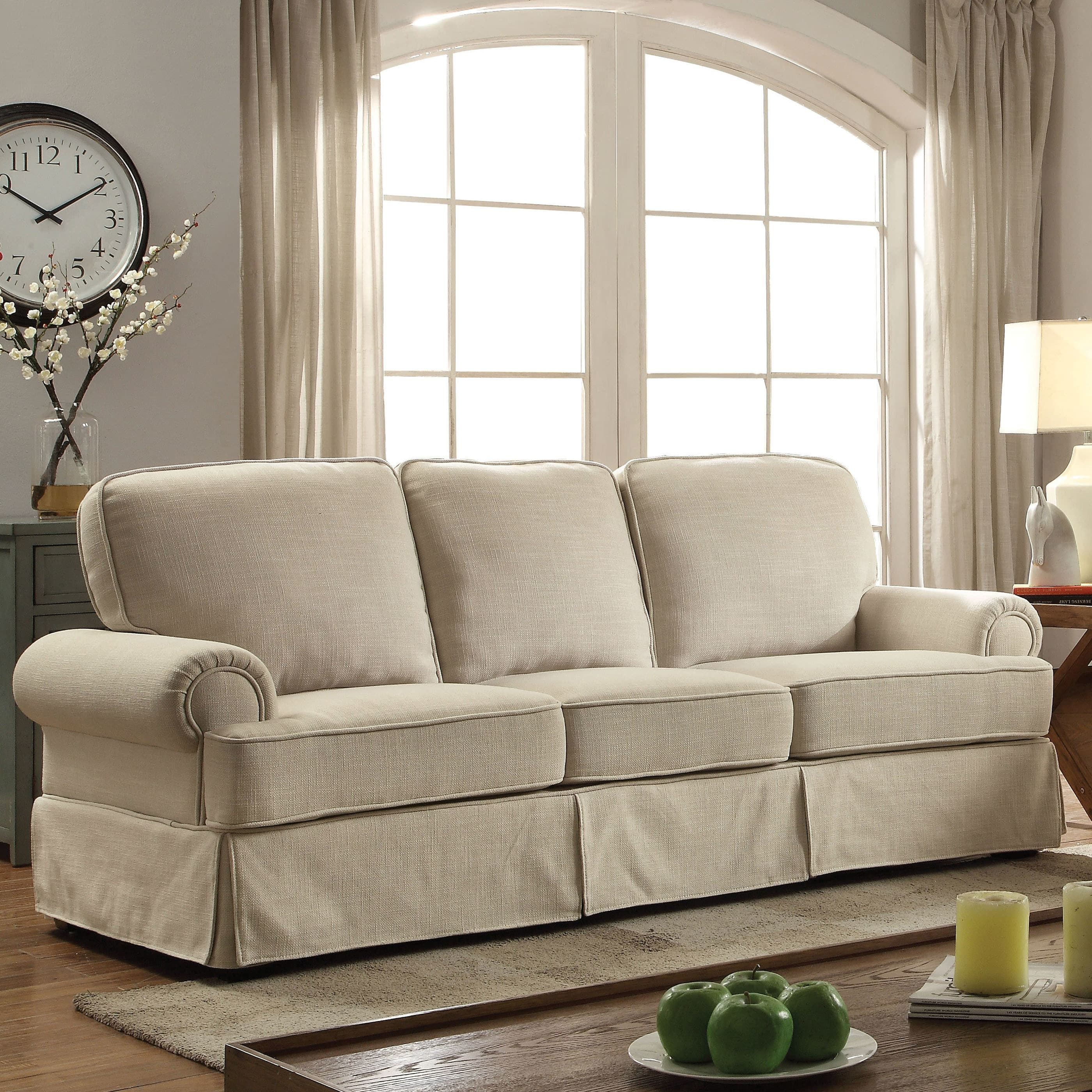 furniture of america eagleton contemporary pillow top skirted sofa beige fabric