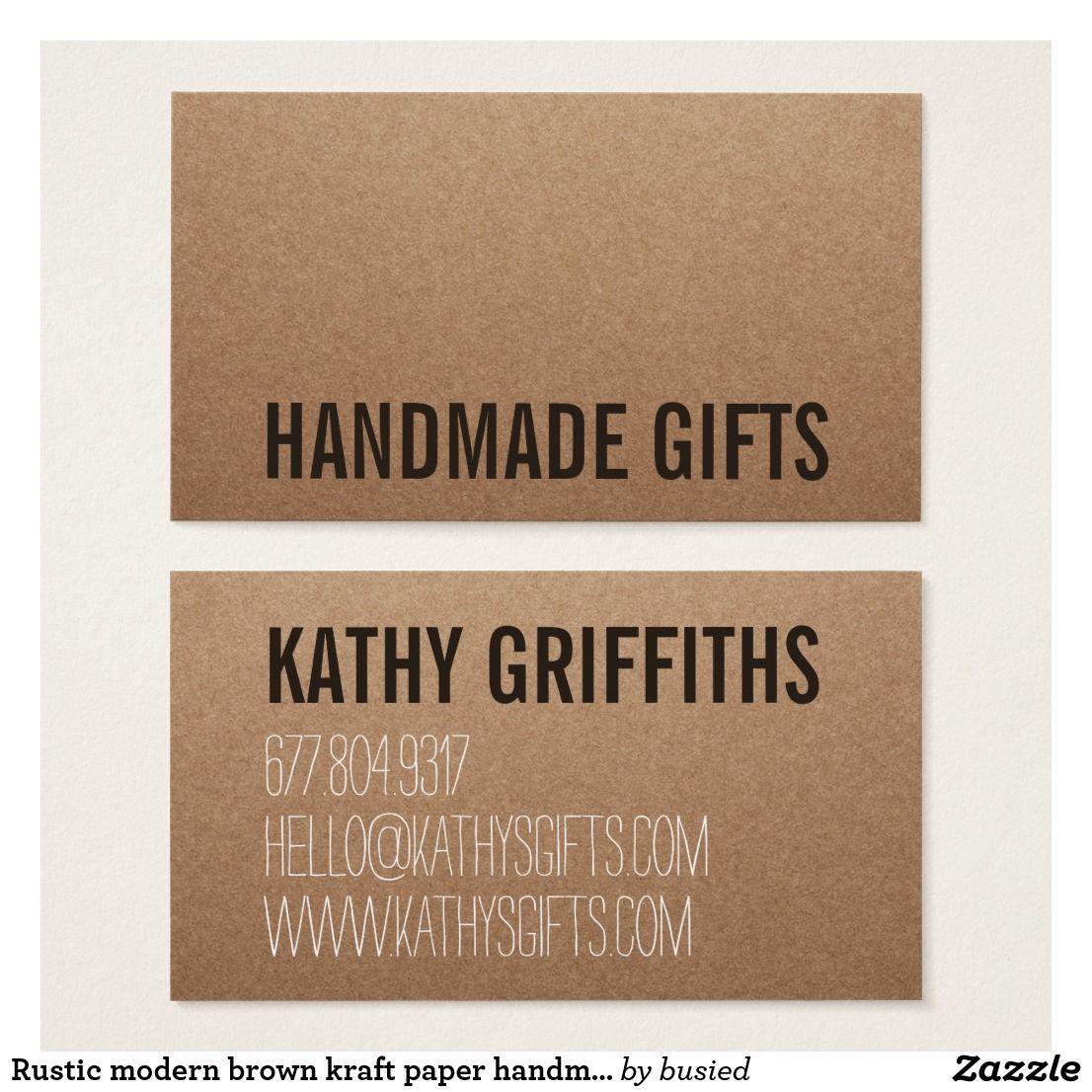 Rustic modern brown kraft paper handmade cardboard business card rustic modern brown kraft paper handmade cardboard business card colourmoves