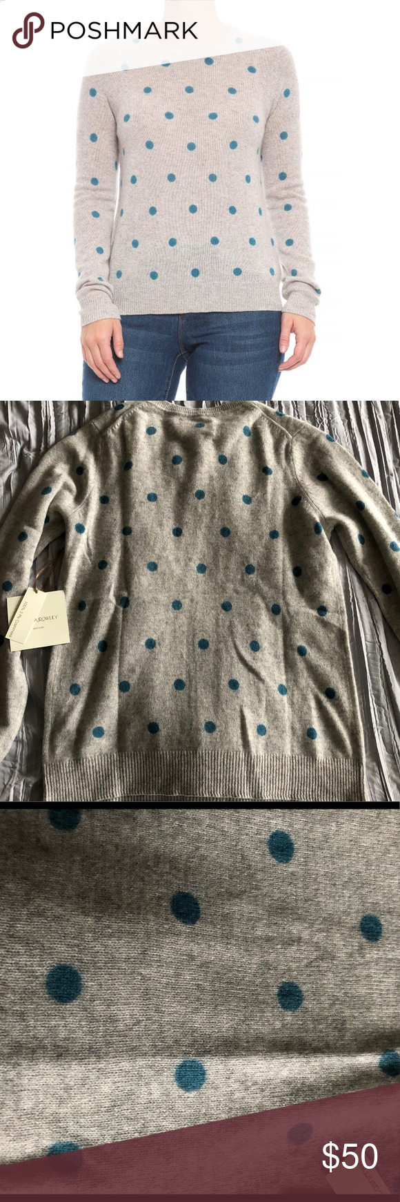 New Cynthia Rowley Cashmere Polka Dot Sweater New With Tags 2 Ply Cashmere Crew Neck Sweater Light Polka Dot Sweater Clothes Design Cynthia Rowley