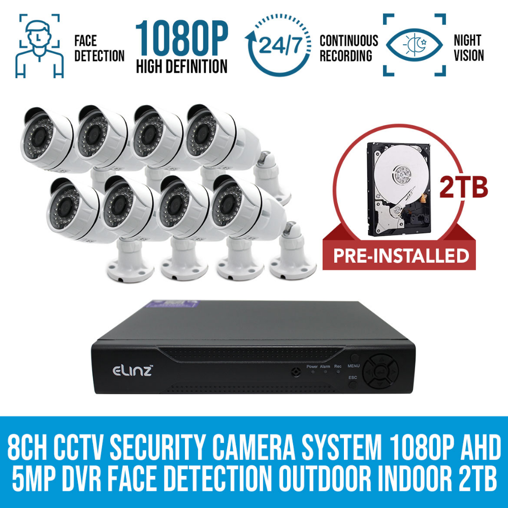 Elinz 8ch Cctv Security System 8x Cameras 1080p Face