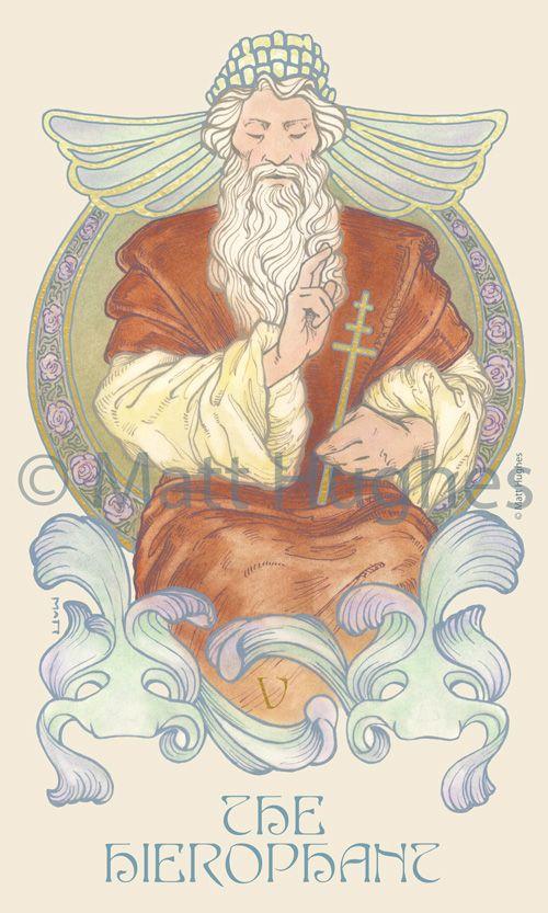 The Hierophant tarot card from the tarot deck by Art Nouveau
