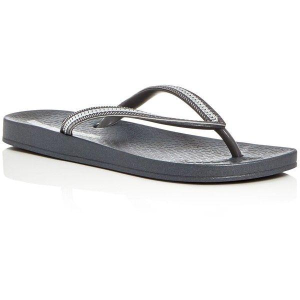 Ipanema Ana Metallic Bracelet Flip-Flops (97 ILS) ❤ liked on Polyvore featuring shoes, sandals, flip flops, grey, ipanema shoes, gray flip flops, ipanema flip flops, metallic shoes and gray shoes