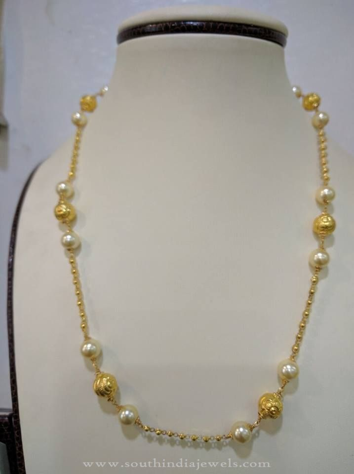 ec8f0978917a70 22K Gold Light Weight Pearl Chain Designs, Gold Light Weight Pearl Chain  Models, Light Weight Gold Chain Designs.