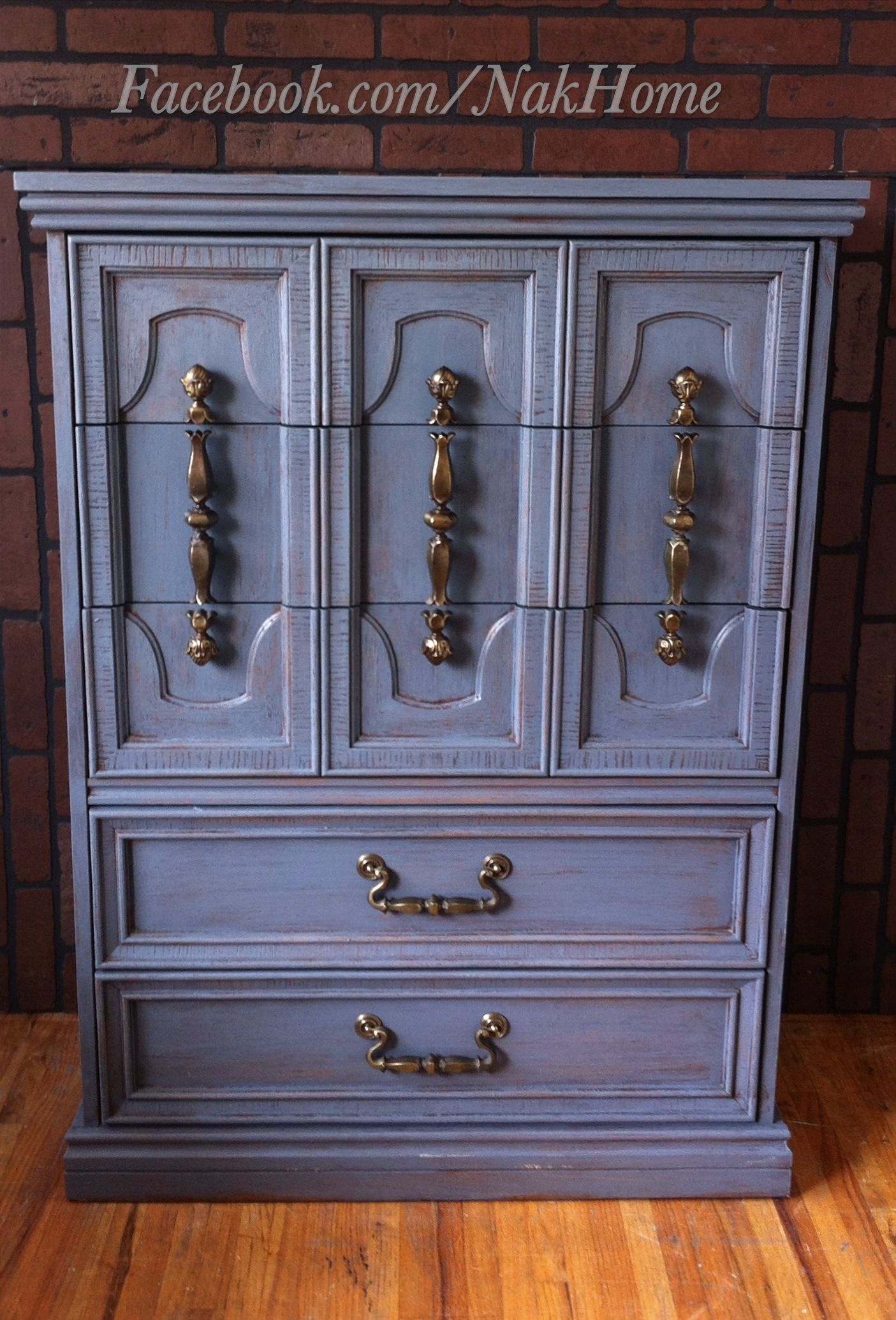 Lovely Shabby Chic Navy Blue Vintage Bassett Furniture Armoire Dresser Hand  Painted With Chalk Paint And Distressed