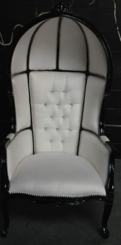 BLACK & WHITE HOLLYWOOD REGENCY PORTERS CHAIR DOMED CHESTERFIELD ARMCHAIR THRONE