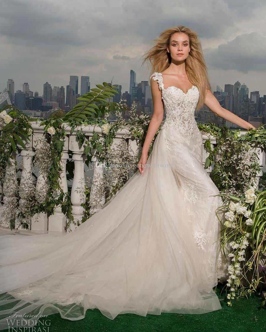 Elegant Fit And Flare Mermaid Wedding Dresses 2017 Sleeveless Thick Embellished Strap Sweetheart Neckline Heavily