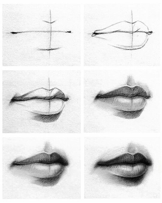Step by step how to draw lips
