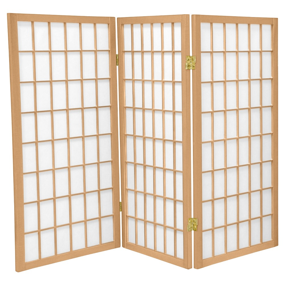 3 Ft Tall Window Pane Shoji Screen Natural 3 Panels Oriental