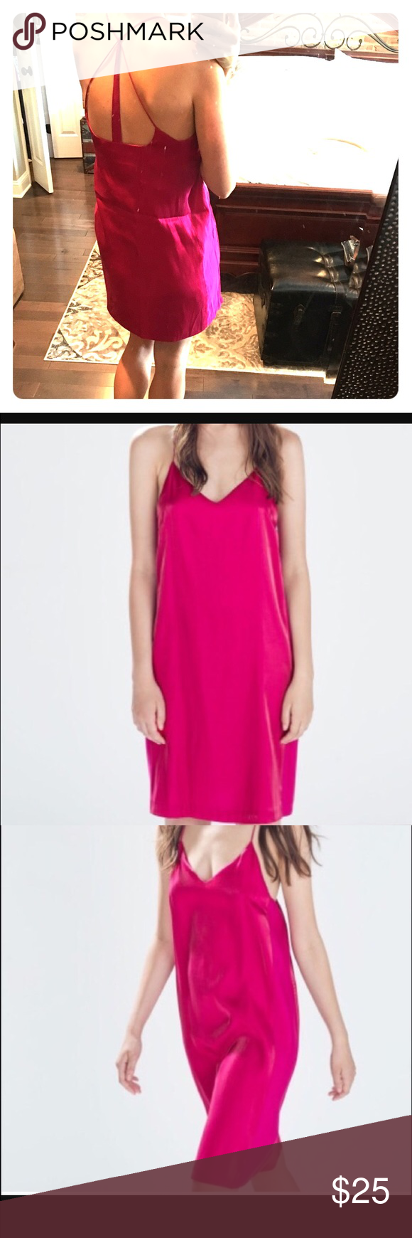 Zara fuchsia sheen slip dress Gorgeous and vibrant dress for day or night. Never worn. Size M. Cross strapped back. Mid thigh length Zara  Dresses Mini