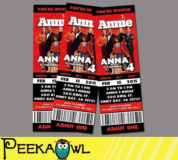 Printable Annie Movie Invitation Ticket Annie by PeekaOwl on Etsy - movie ticket invitations printable free