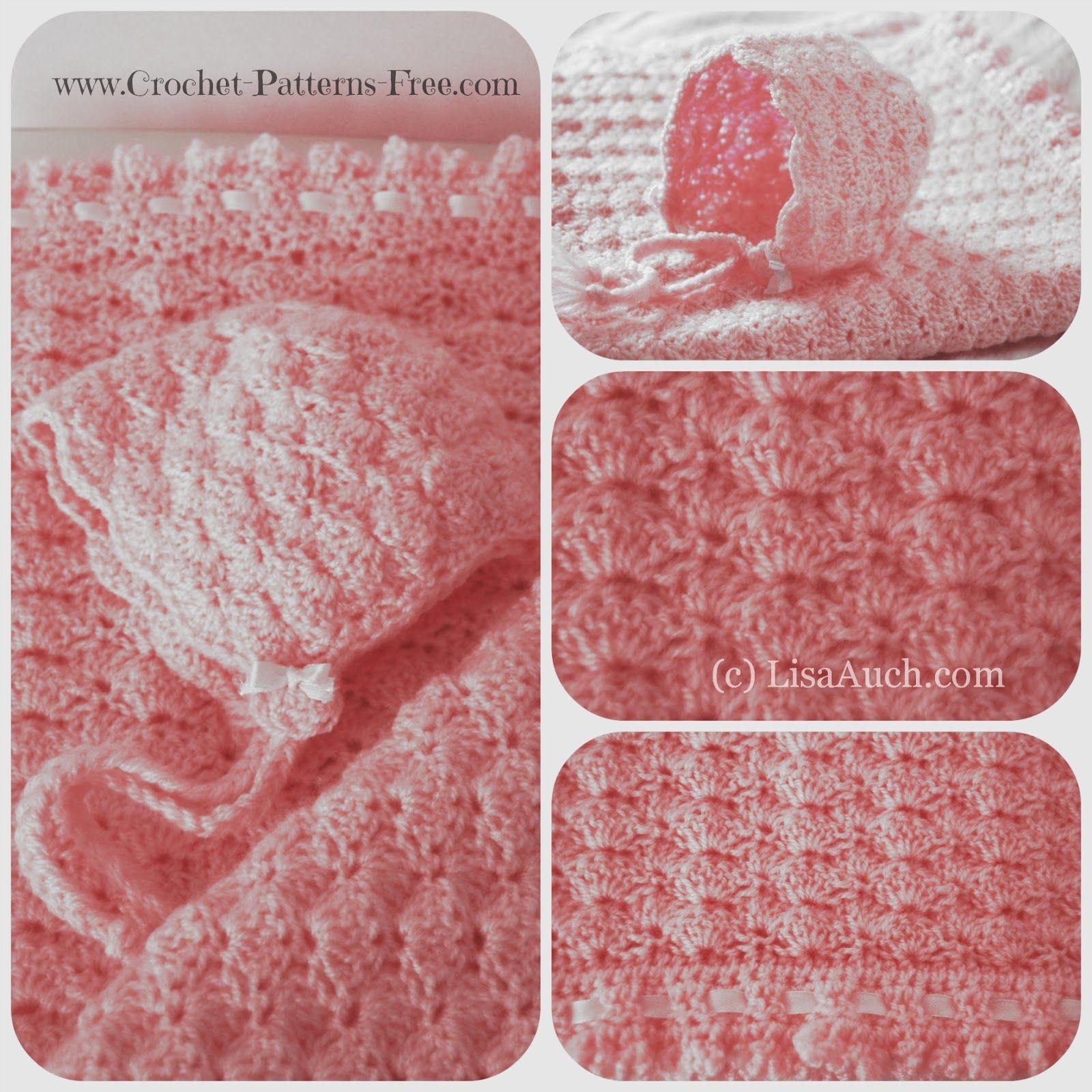 Free Crochet Baby Blanket Pattern in Shell Stitch -baby bonnet ...