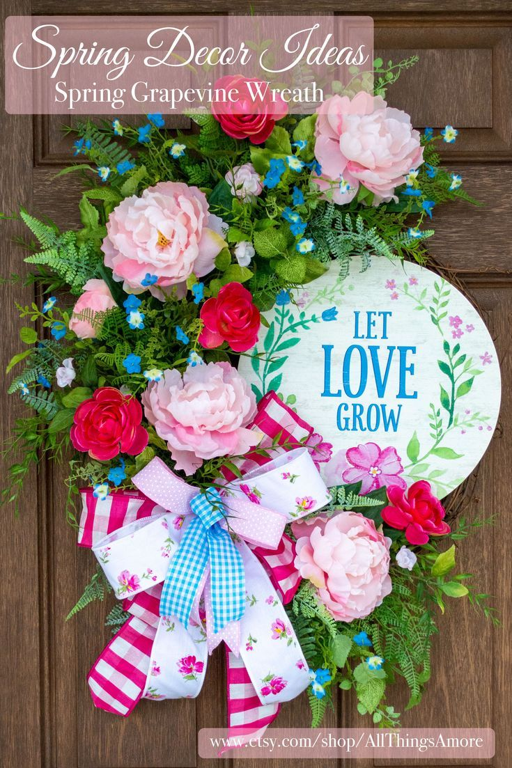 Photo of Peony wreath, spring flower wreath, front door wreath, Mother's Day gift, wedding gift