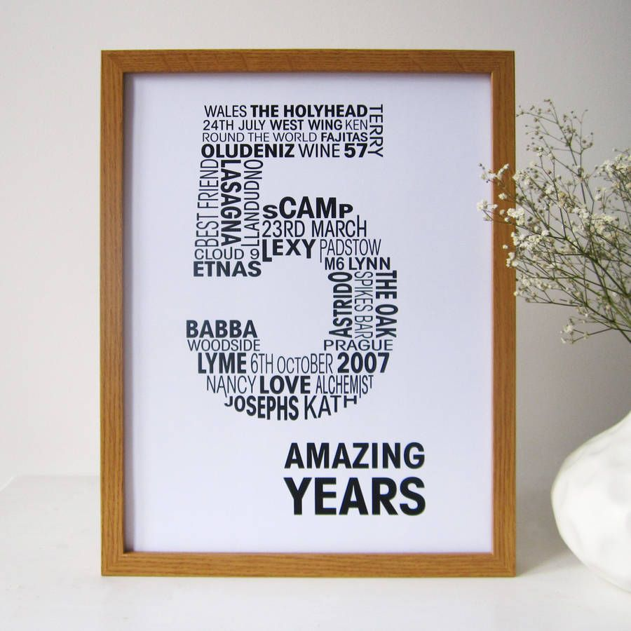 Personalised Anniversary Print  Anniversaries Wedding