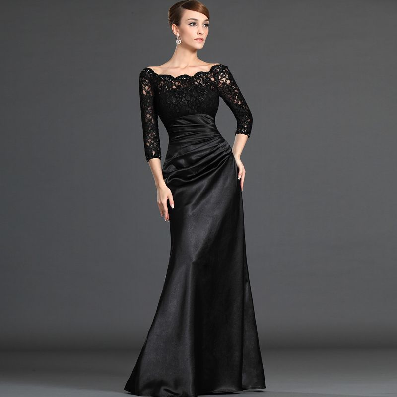 2016 Hot Mother Of The Bride Dresses Real Photo 3 4 Sleeves Black