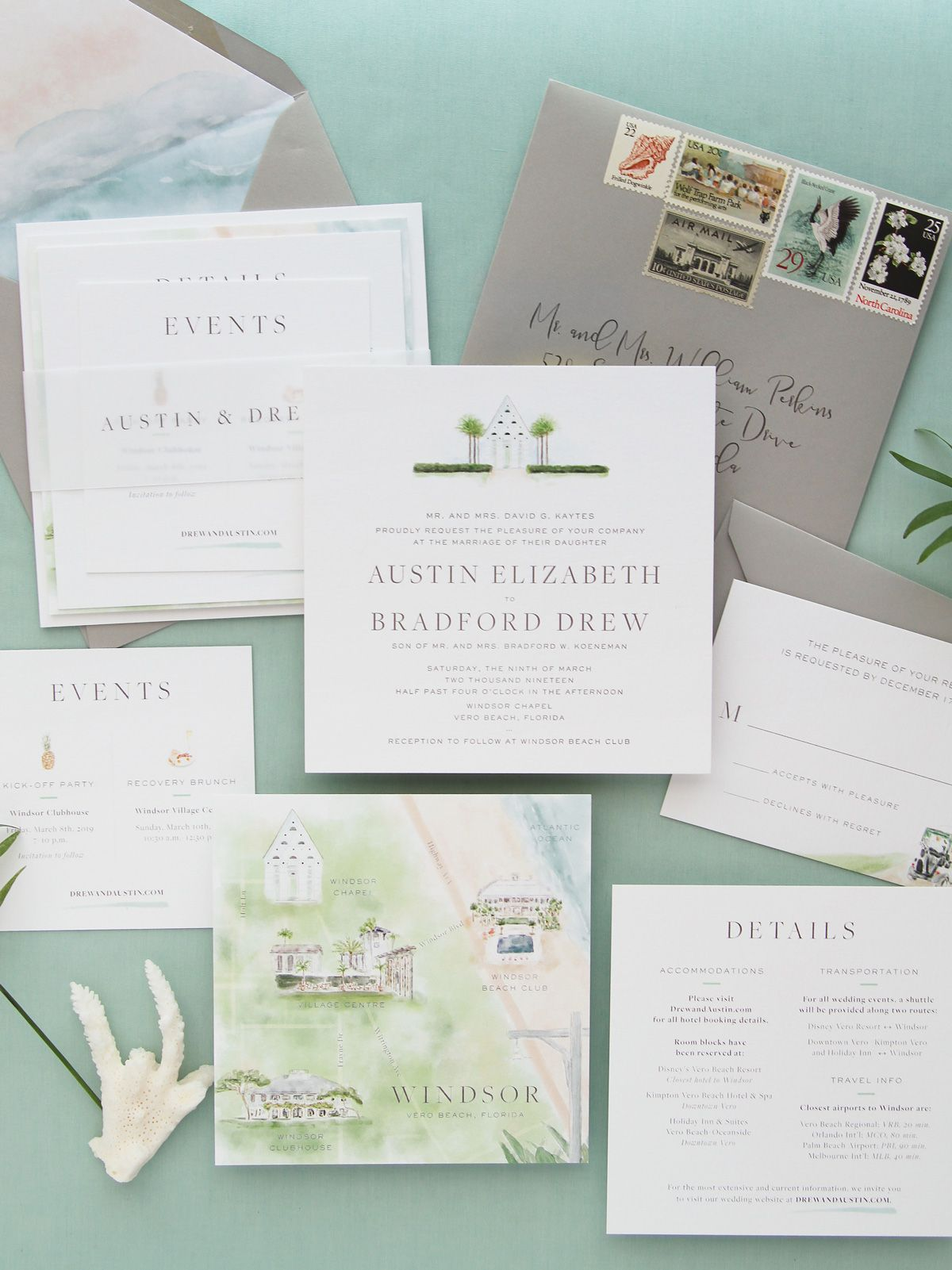 Windsor At Vero Beach Florida Custom Wedding Invitation Watercolor Chapel And Map Letterpress Details Square Cards Vellum Belly Band Vintage Postage