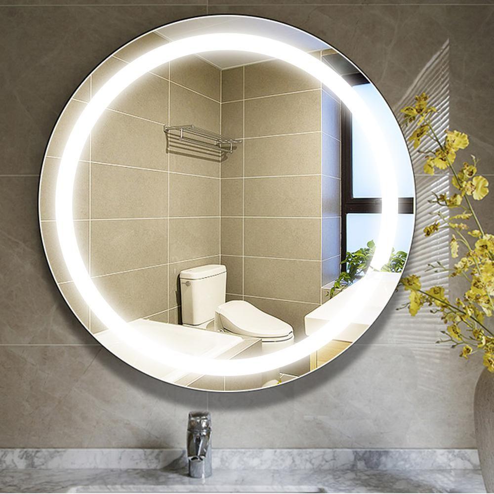 Vanity Art 24 In W X 24 In H Frameless Round Led Light Bathroom Vanity Mirror In Clear Var16 The Home Depot Led Mirror Bathroom Bathroom Vanity Mirror Mirrors For Bathroom