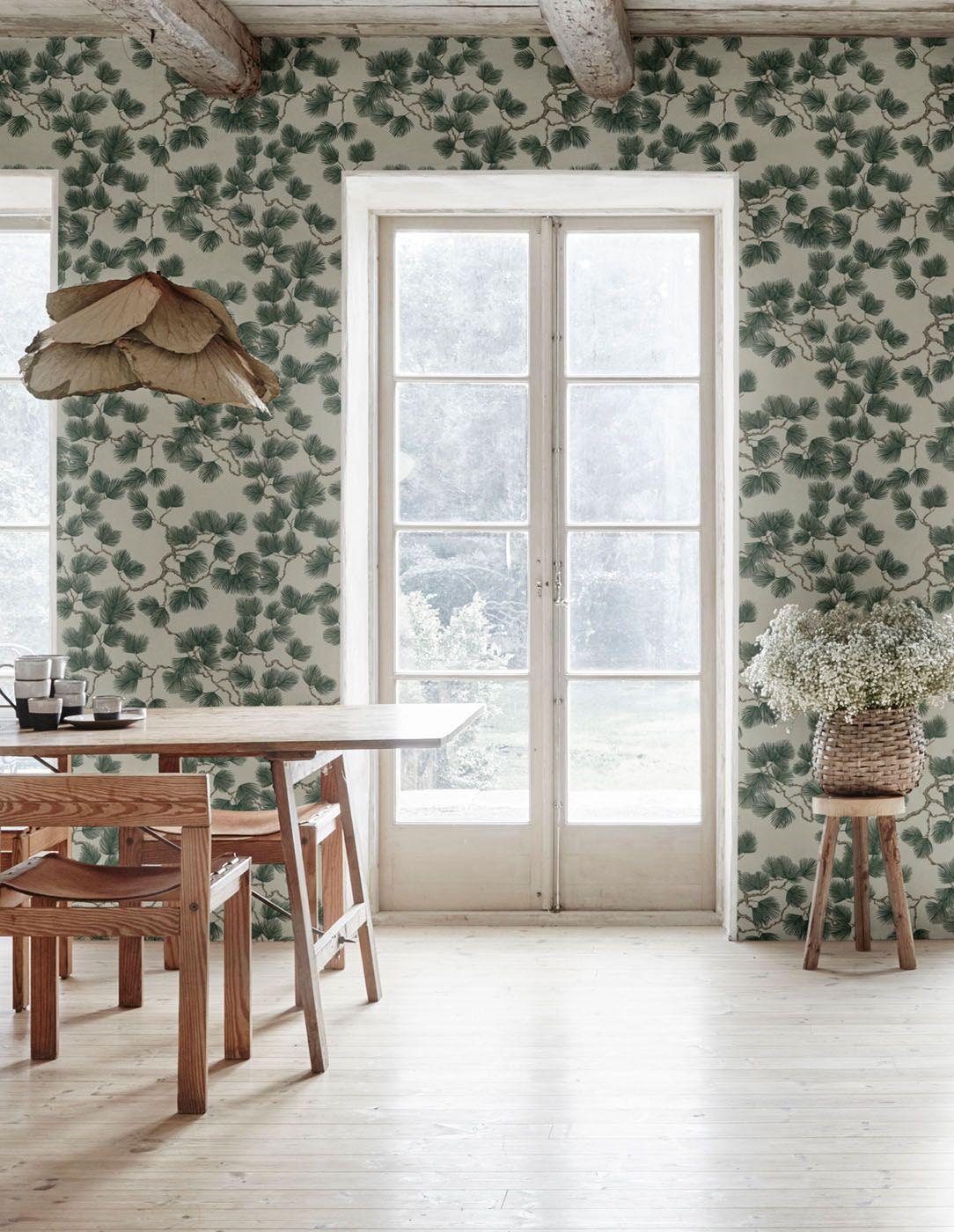 Pine Green in 2020 Green wallpaper, Bathroom wallpaper