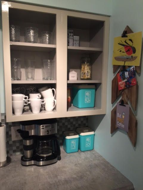 Kitchen Cabinet Face Lift Two Toned Orange And Greige Coffee Nook