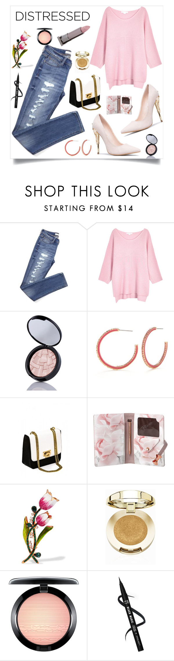 """""""True Blue: Distressed Denim"""" by alinepinkskirt ❤ liked on Polyvore featuring Duffy, Kate Spade, Ted Baker, Dolce&Gabbana, Milani, MAC Cosmetics and Lipstick Queen"""