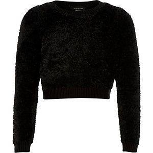 Girls black super soft fluffy jumper