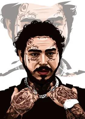 Post Malone Metal Poster Print Sundanese Artwork Displate Di 2021 Artis