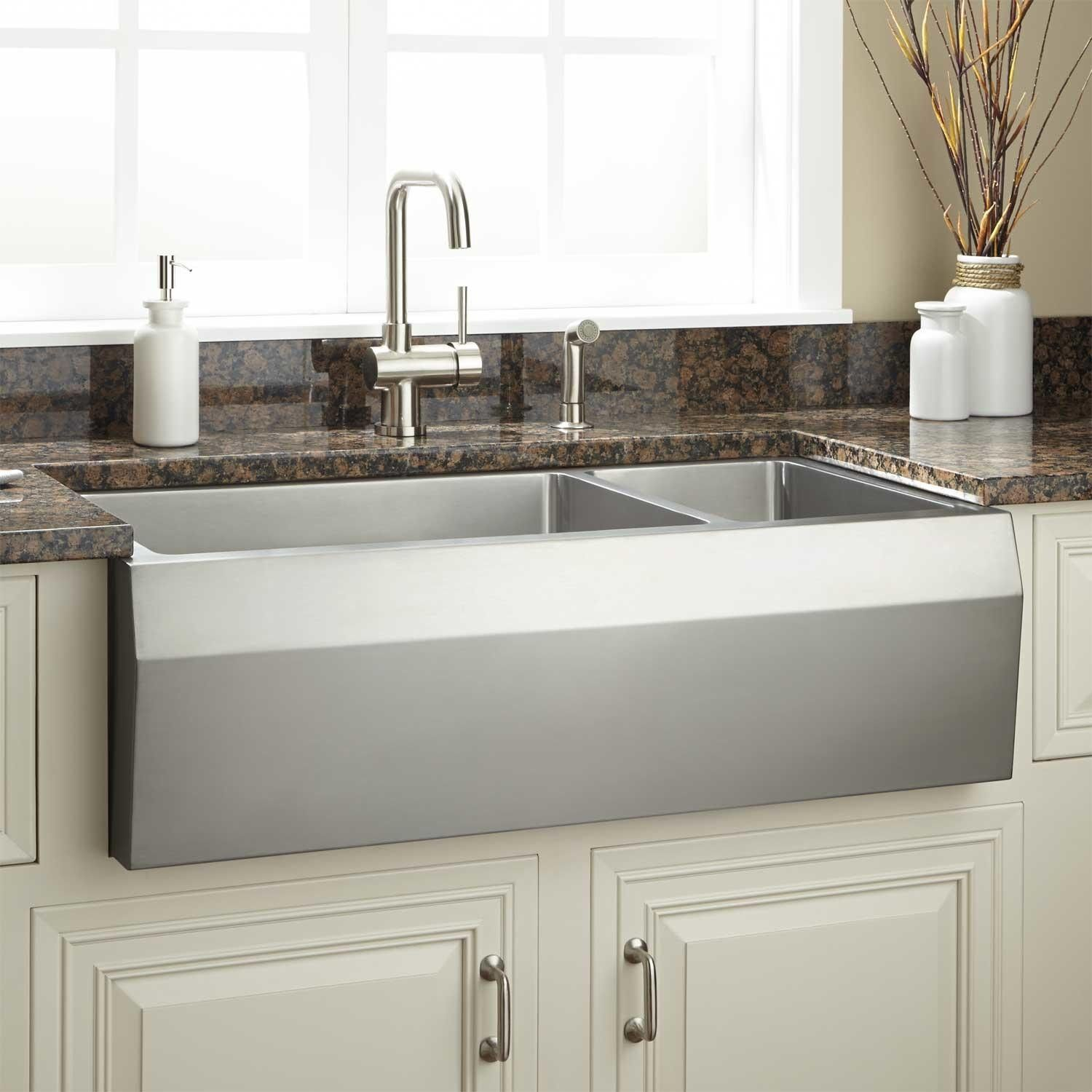 36 Kingsley 70 30 Offset Double Bowl Stainless Steel Farmhouse Sink