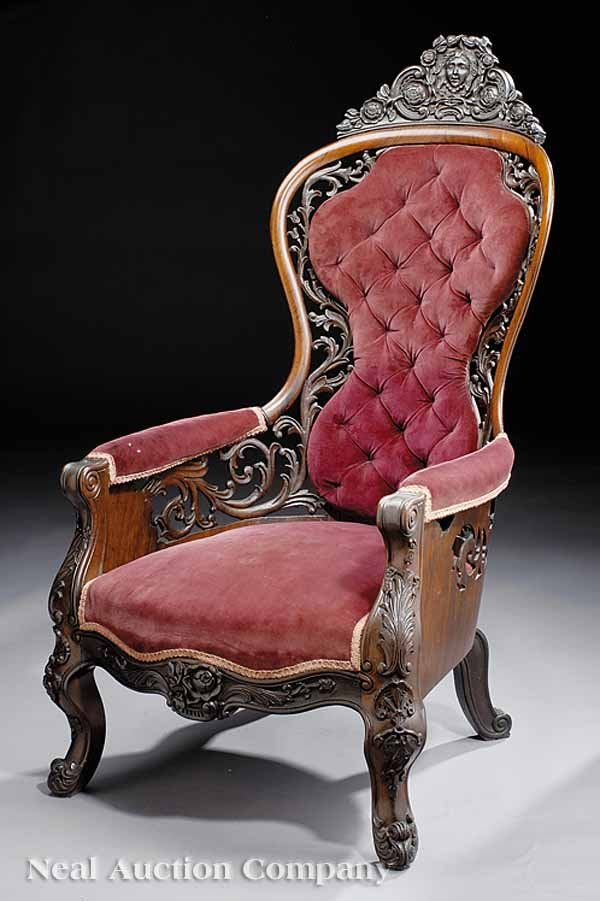 ~ An American Rococo Craved & Laminated Rosewood Bergere - mid 19th century...attributed to John Henry Belter, NY _