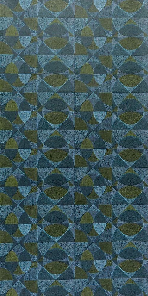 Original 70er Jahre Tapete Mit Geometrischem Muster Von Der