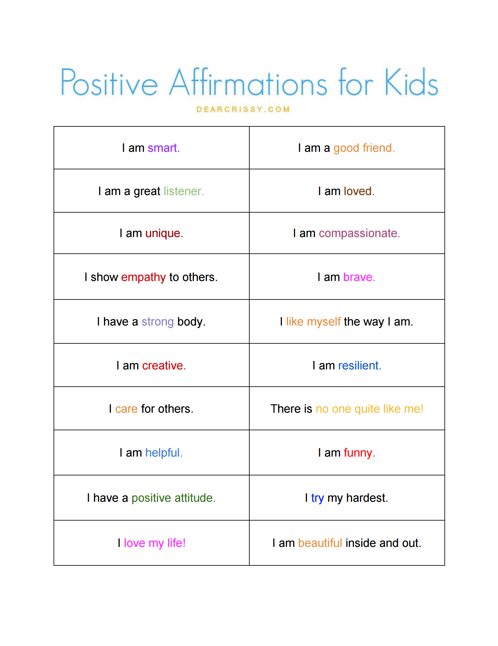 Enjoy This Positive Affirmations For Kids Free Printable