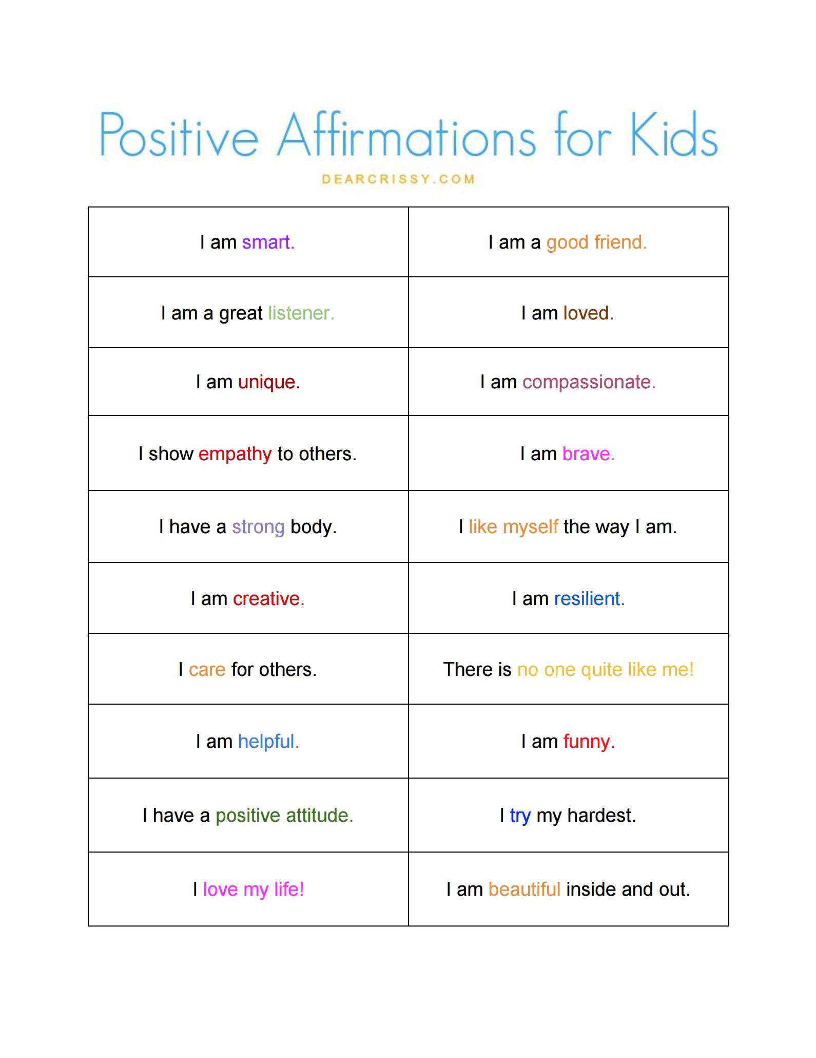Positive Affirmations for Kids Free Printable | OGT Blogger