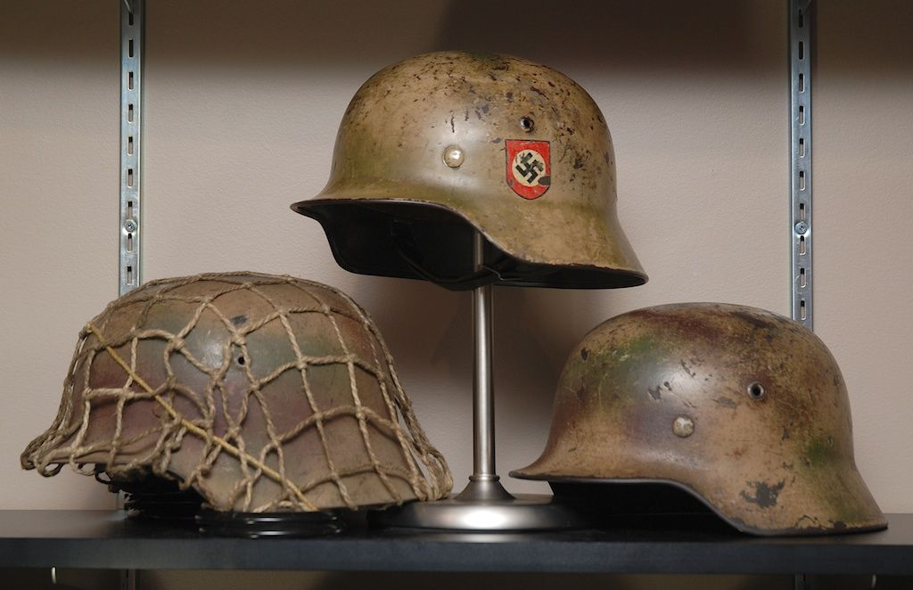 camouflaged german army helmets