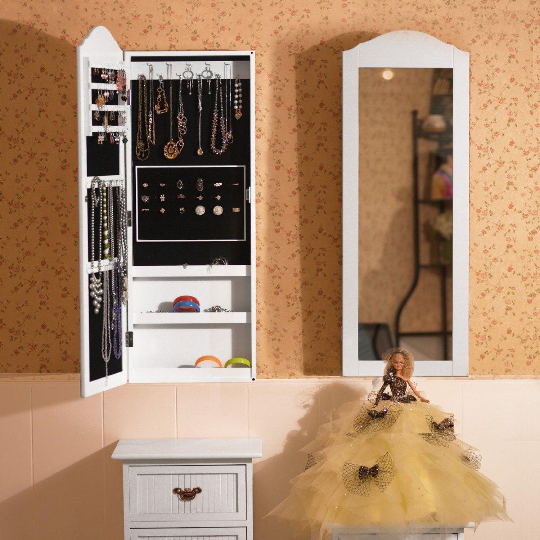 Songmics jbc83w armario de pared para joyas con espejo for Espejo largo pared