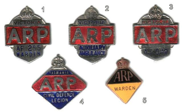 """1. Victorian Warden - The reverse has two lugs and the inscription """"Issued by State Emergency Council"""" and were manufactured by 'Bentley'.  2. Victorian Auxiliary Ambulance - The reverse has two lugs and the inscription """"Issued by State Emergency Council"""" and were manufactured by 'Bentley'. This badge is numbered on the reverse side.  3. Victorian General badge - The reverse has two lugs and the inscription """"Issued by State Emergency Council"""" and were manufactured by 'Bentley'.  4. Tasmania…"""