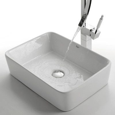 Kraus Ceramic Rectangular Vessel Bathroom Sink Drain Finish: Oil Rubbed  Bronze
