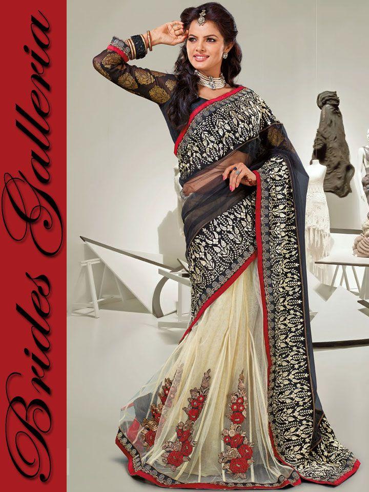 Black & Cream Designer Saree Black & Cream Designer Saree [BGSA 12575] - US $84.46 : Latest