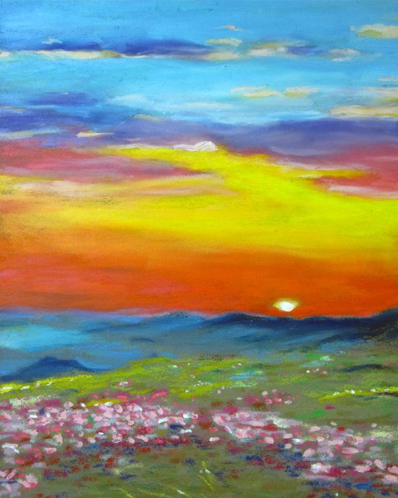 Rainbow landscape original oil pastel drawing - Blending With Oil Pastels