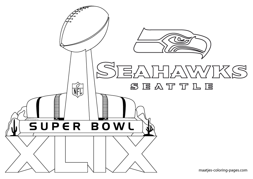 More Seattle Seahawks Super Bowl XLIX coloring pages on: maatjes ...